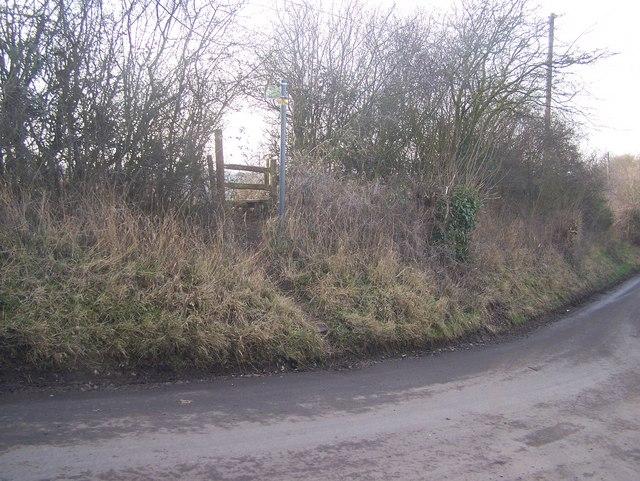 Footpath on bend in road