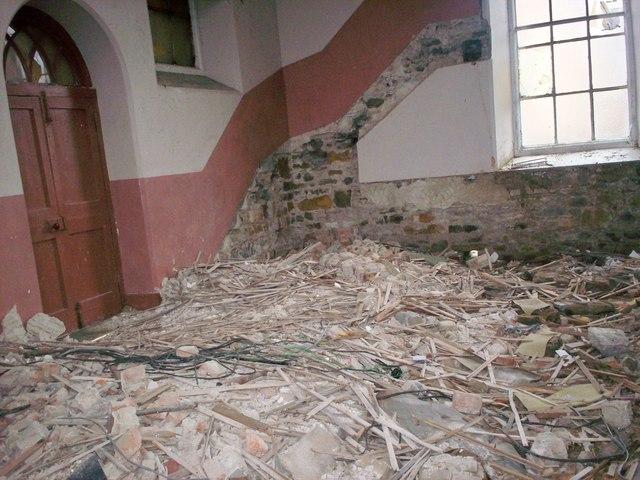 Bethania Chapel, Whitland - sight through broken window