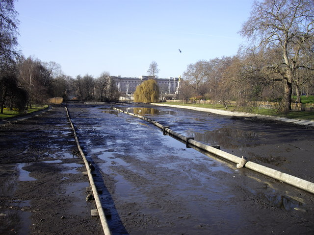 Drained lake St James's Park