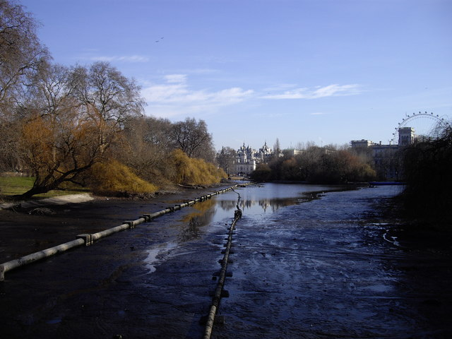 The drained lake, St James's Park