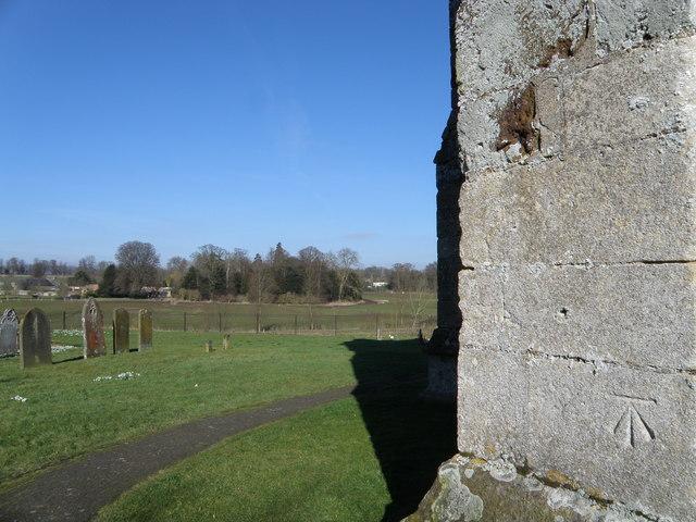 Bench Mark on St Johns Church Cranford