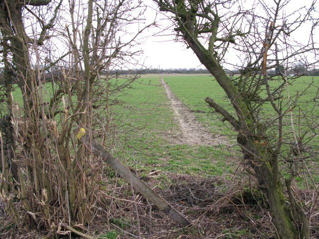 Route of the footpath to Knell Lane