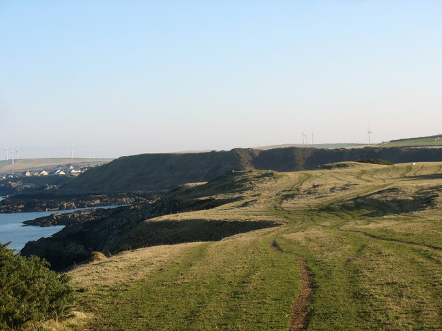 View eastwards along the cliff tops from above Porth yr Ogof