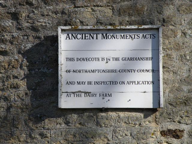Sign on Cranford St Andrews Dovecote