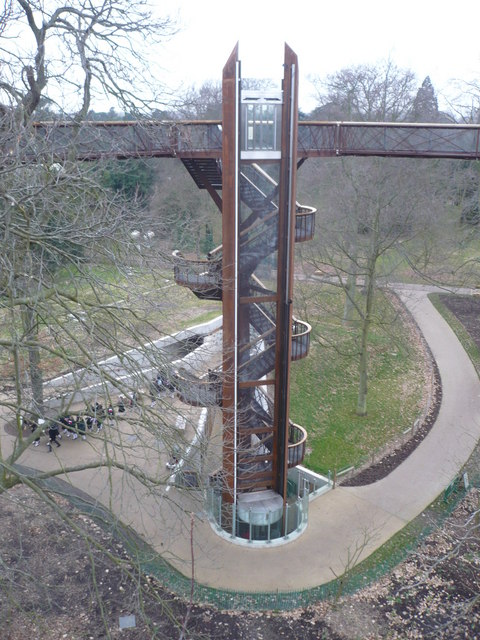 Kew Gardens. Lift and staircase to the Treetop Walkway