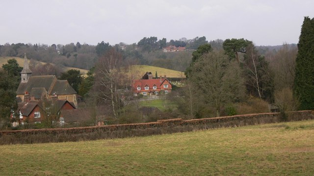 View of Hascombe from the bridleway to the south