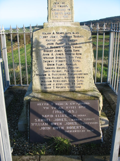 The Fallen of Two World Wars recorded on the Penysarn War Memorial