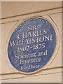 TQ2882 : Blue Plaque - Sir Charles Wheatstone by Peter Trimming