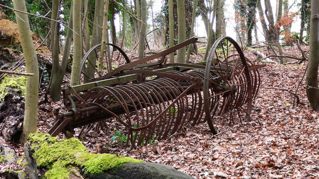 Old agricultural machinery in wood near Hascombe