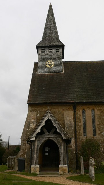 The porch and Spire of St Peter's, Hascombe