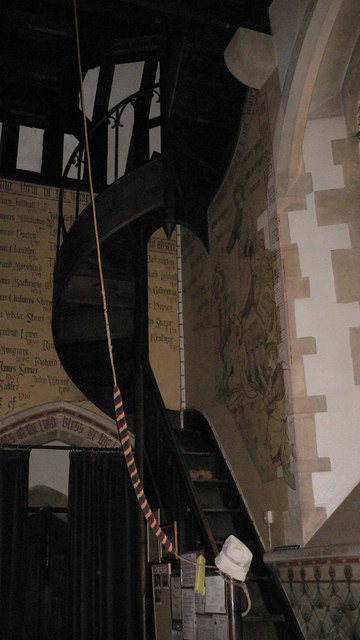 Staircase at the west end of Hascombe church