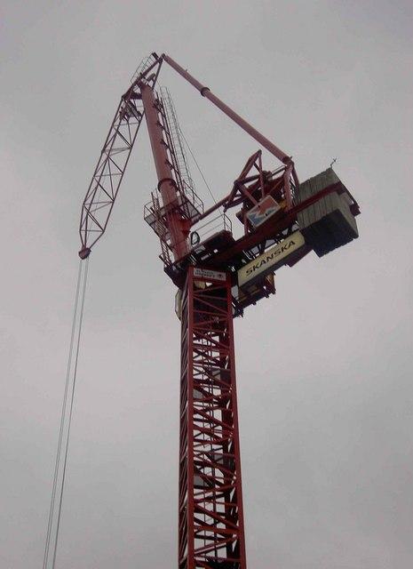 Luffing jib crane on Bruton Street London