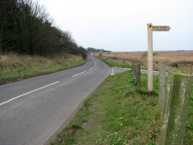 View west along the A149 (Coast Road)