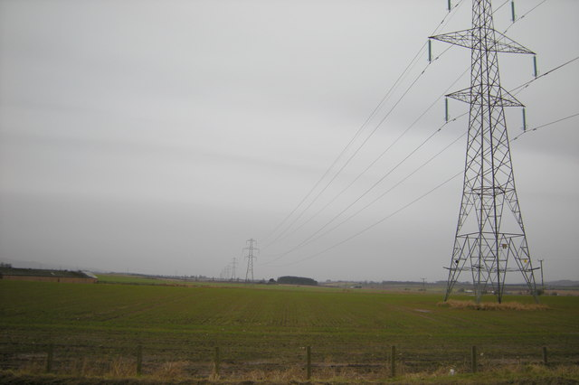 View of Electricity Power Lines near Heatherstacks Farm, Forfar