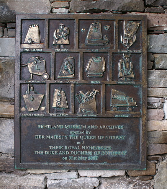Plaque at the entrance to the Shetland Museum, Lerwick