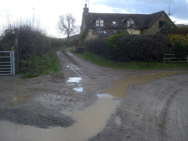 House on the bend in the lane at Yatton Marsh