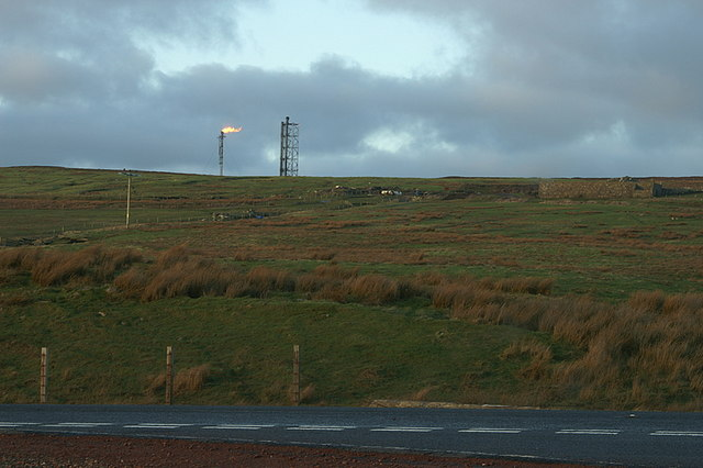 View up the Hill of Garth to the Sullom flare stack