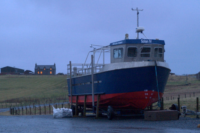 Mousa ferry at winter home, Aithsvoe, Cunningsburgh