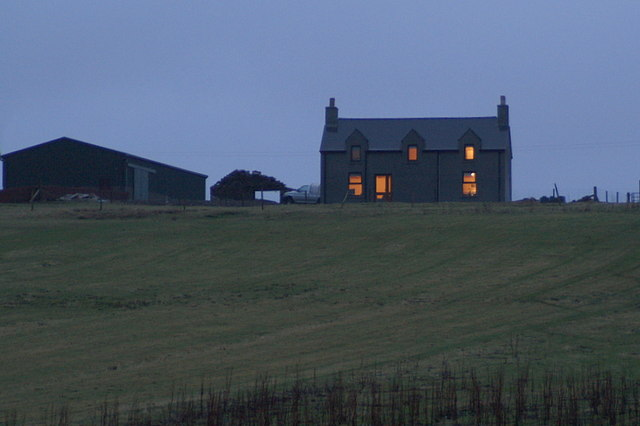 House at dusk, Greenmow, Cunningsburgh