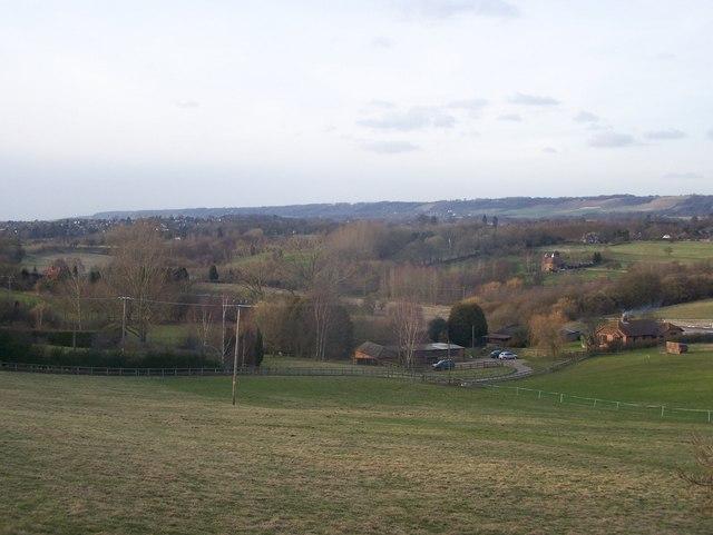 Spout Farm and River Len Valley view