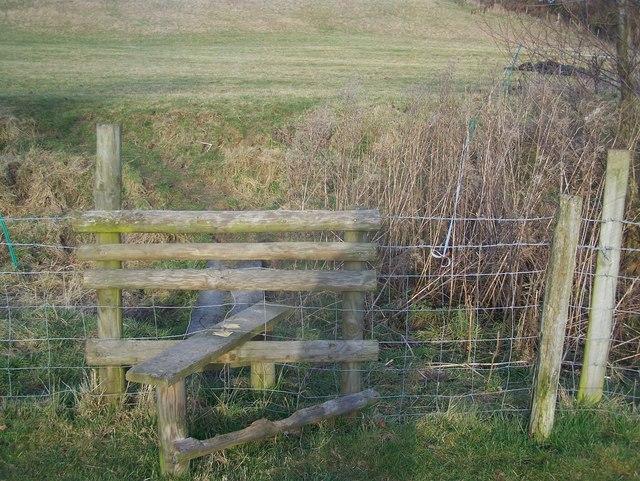 Stile and footbridge in Spout Farm