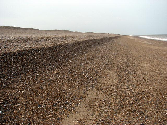 A deeply shelved shingle beach