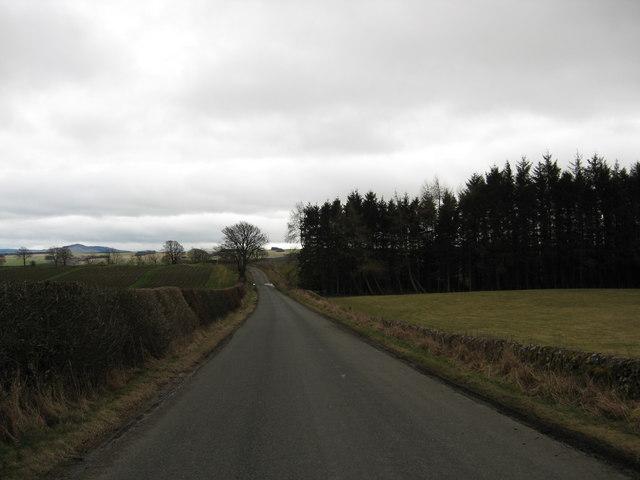 Road running past Dryden Greenhill Farm