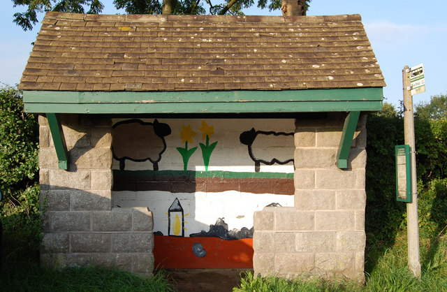 Decorated Bus shelter, Shipham, Somerset
