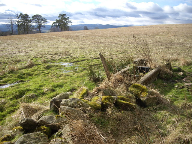 Stone pile and derelict drinking trough
