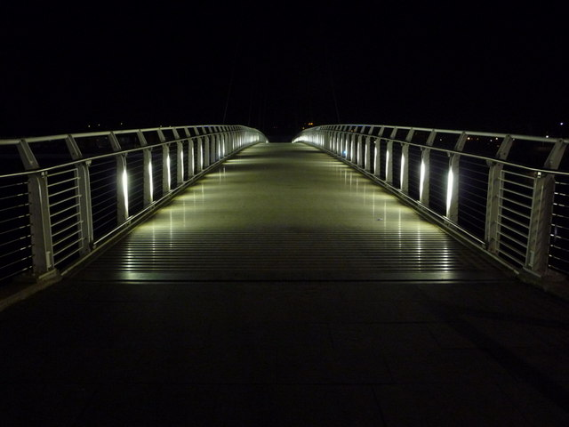 Newport: the footbridge walkway floodlit