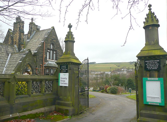 The entrance to Sowerby Bridge Cemetery