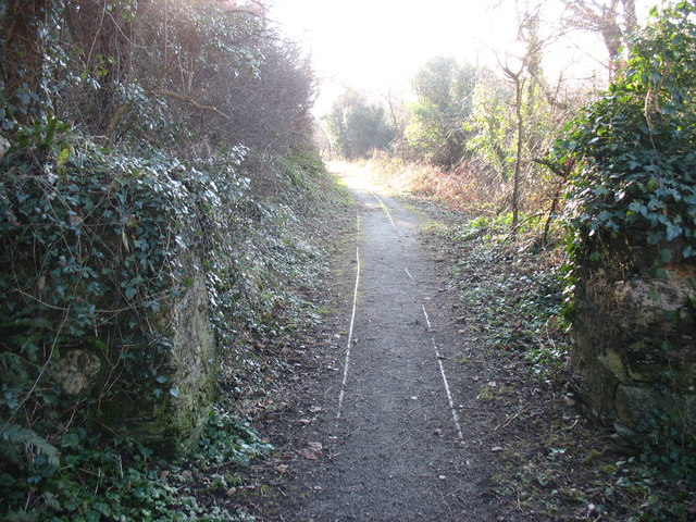 Old tramway leading from the harbour to the Cemaes brickworks