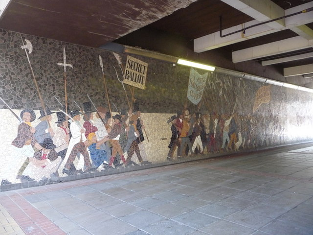 Newport newport chartist mural 1 chris downer cc by for Chartist mural newport