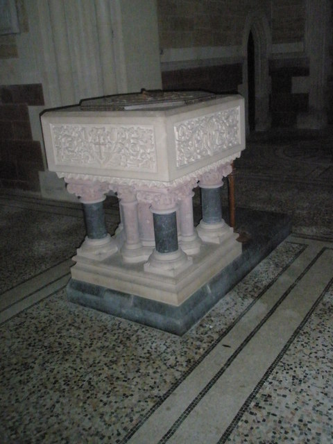 The font at Holy Trinity, Privett