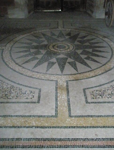 Mosaic behind the font at Holy Trinity, Privett