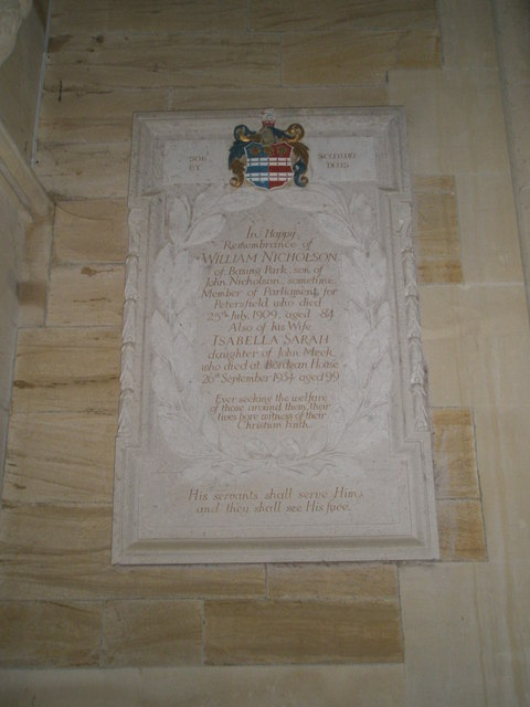 Memorial to a devoted couple at Holy Trinity, Privett