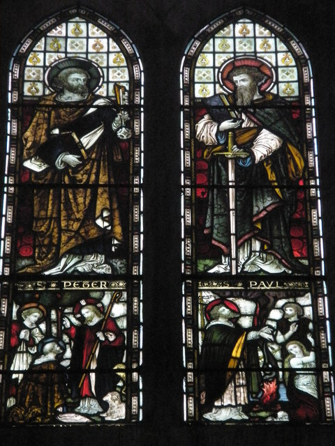 Stained glass window on the west wall at Holy Trinity, Privett