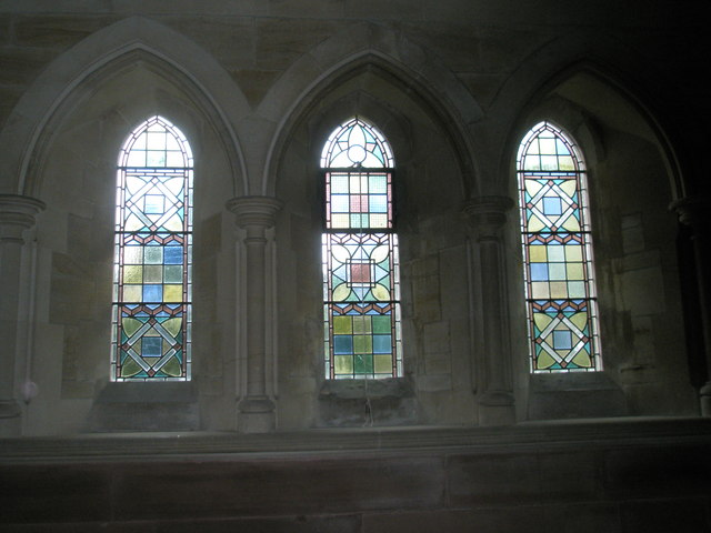 Pastel shaded  windows at Holy Trinity, Privett