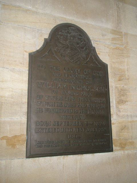 Memorial to a munificent benefactor within Holy Trinity, Privett