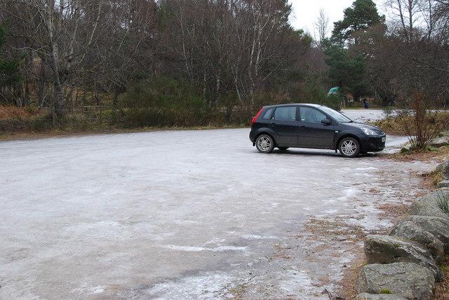 Icy car park