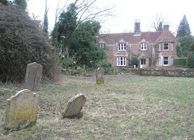 Looking across from the churchyard to the old rectory at Privett