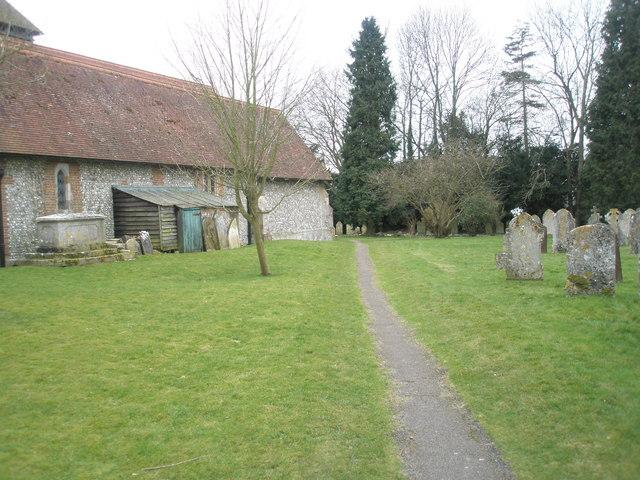 Path within Ropley Churchyard