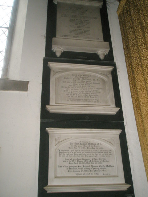 Stacked memorials in the vestry at St Peter's, Ropley