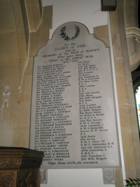 Great War Memorial within St Peter's, Ropley