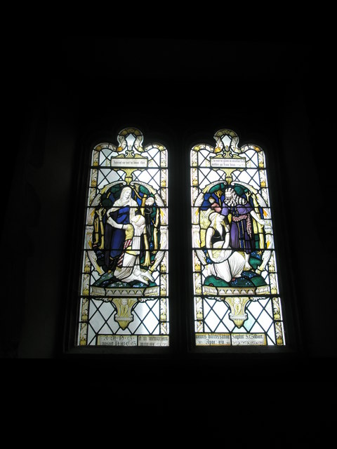 Stained glass windows in the vestry at St Peter's, Ropley