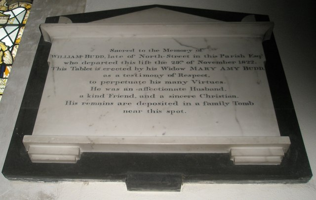 Memorial to a resident of North Street within St Peter's, Ropley