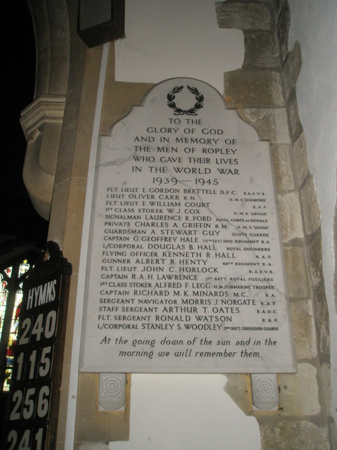 1939-1945 War Memorial within St Peter's, Ropley