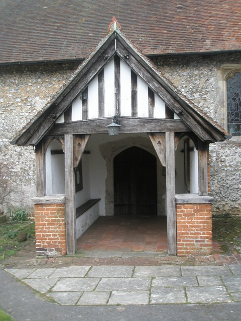 The church porch at St Peter's, Ropley