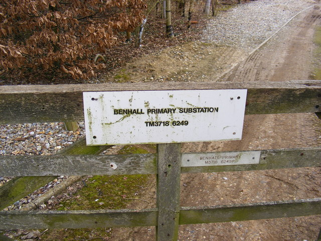 Benhall Primary Electricity Sub Station sign