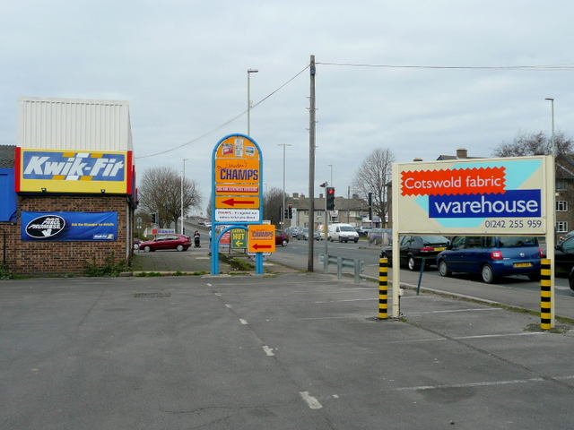 Signs by the Tewkesbury Road